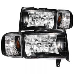 ANZO USA 111067 ANZO 1994-2001 Dodge Ram Crystal Headlights Black