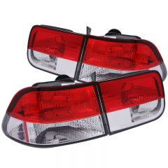 ANZO USA 221222 ANZO 1996-2000 Honda Civic Taillights Red/Clear