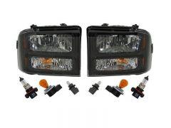 Sinister Diesel MKM-HDL-0507-BLK 05-07 Ford Super Duty 05+ Ford Excursion MKM Customs Headlights - Black